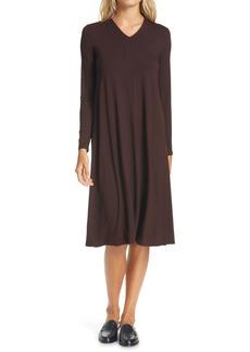Eileen Fisher V-Neck Long Sleeve Shift Dress