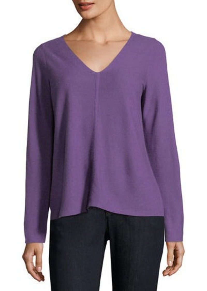 77924497846 Eileen Fisher V-Neck Long-Sleeve Top
