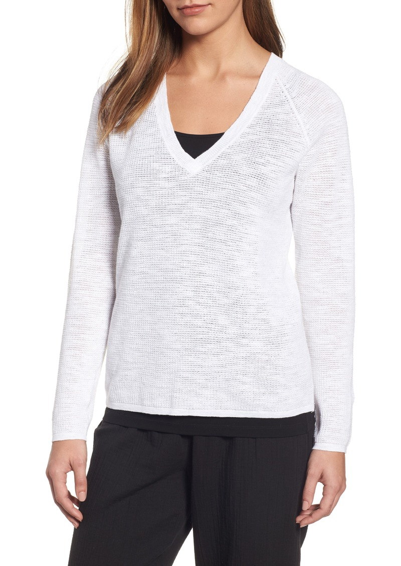 Eileen Fisher Eileen Fisher V-Neck Organic Linen & Cotton Sweater ...