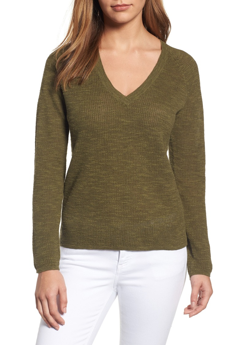 Eileen Fisher Eileen Fisher V-Neck Organic Linen & Cotton Sweater ...