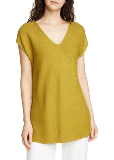 Eileen Fisher V-Neck Organic Linen & Cotton Tunic (Regular & Petite)