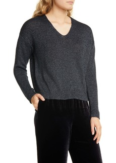 Eileen Fisher V-Neck Organic Linen Blend Sweater
