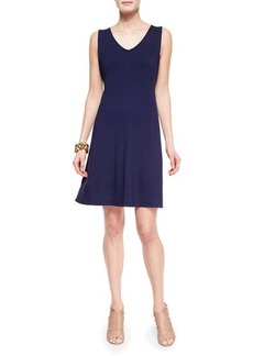 Eileen Fisher V-Neck Shaped Jersey Dress