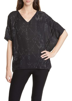 Eileen Fisher V-Neck Silk Blend Wedge Top