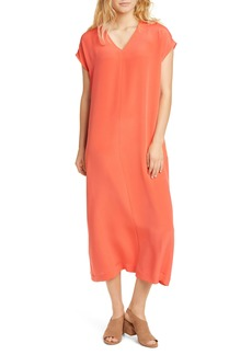 Eileen Fisher V-Neck Silk Midi Dress