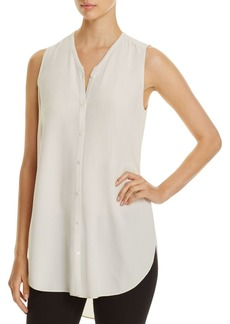Eileen Fisher V-Neck Sleeveless Silk Blouse