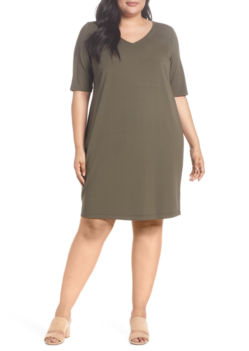 Eileen Fisher Eileen Fisher V-Neck Stretch Jersey Shift Dress (Plus ...