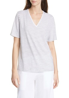 Eileen Fisher V-Neck Stripe Organic Cotton Tee