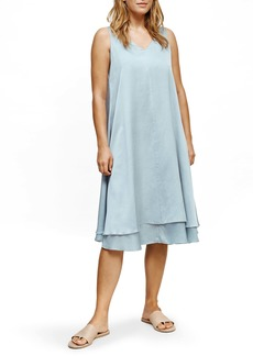 Eileen Fisher V-Neck Tiered Silk & Organic Cotton Dress
