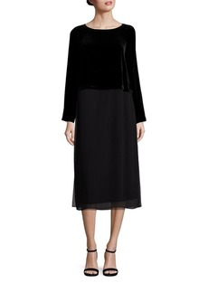 Eileen Fisher Velvet & Silk Shift Dress