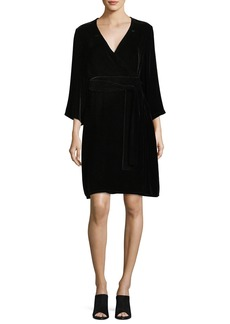 Eileen Fisher Velvet 3/4-Sleeve Wrap Dress