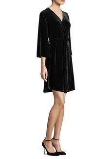 Eileen Fisher Velvet Three-Quarter Wrap Dress