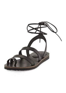 Eileen Fisher Wales Flat Lace-Up Leather Sandal
