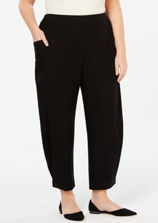 Eileen Fisher Washable Crepe Plus-Size Pull-On Ankle Pants