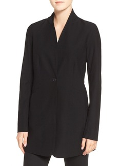 Eileen Fisher Washable Stretch Crepe Stand Collar Jacket (Regular & Petite)