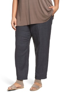 Eileen Fisher Washed Organic Linen Taper Leg Ankle Pants (Plus Size)