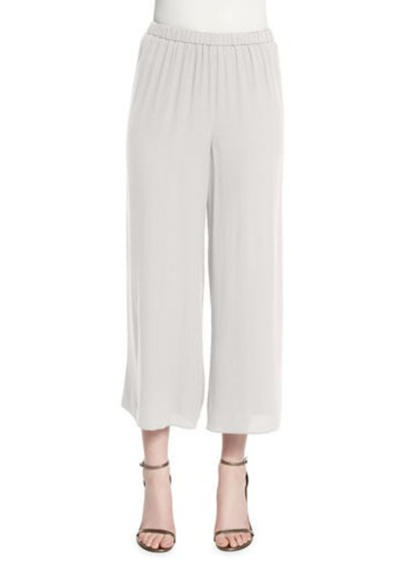 Eileen Fisher Wide-Leg Georgette Cropped Pants