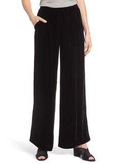Eileen Fisher Wide Leg Velvet Ankle Pants (Regular & Petite)
