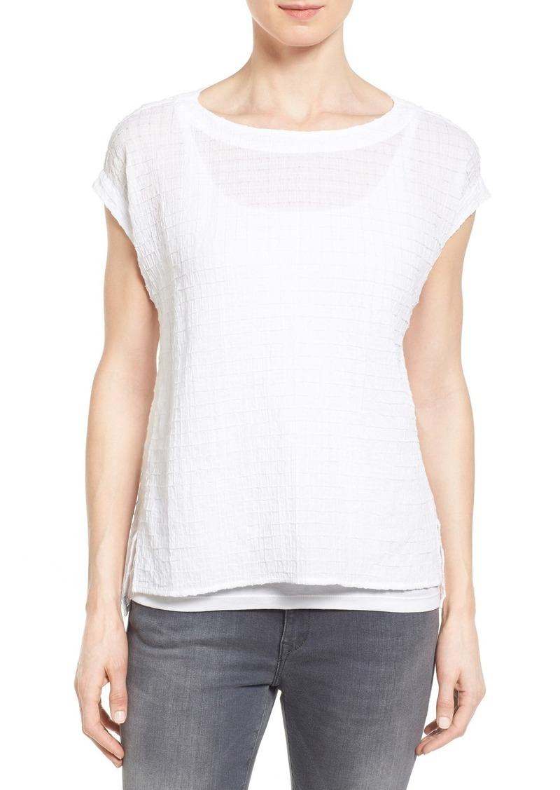 Eileen Fisher Wide Neck Organic Cotton Swing Top (Regular & Petite)