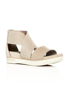 Eileen Fisher Women's Perforated Nubuck Leather Crisscross Platform Sandals
