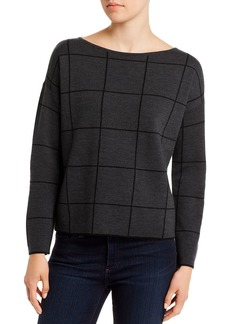 Eileen Fisher Wool-Blend Boxy Boatneck Top