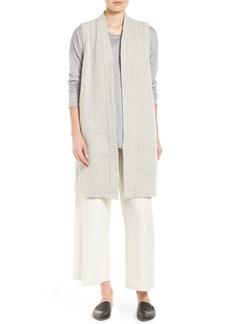 Eileen Fisher Wool Blend Tweed Kimono Vest