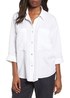 Eileen Fisher Woven Linen Blend Blouse (Regular & Petite)