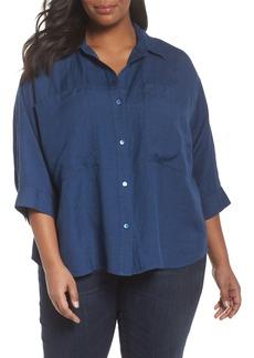 Eileen Fisher Woven Linen Blend Blouse (Plus Size)