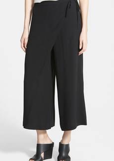 Eileen Fisher Wrap Front Wide Leg Silk Crop Pants (Regular & Petite)