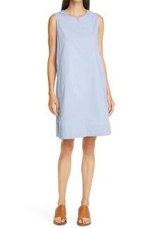 Eileen Fisher Zip Neck Stretch Organic Cotton Dress (Regular & Petite)