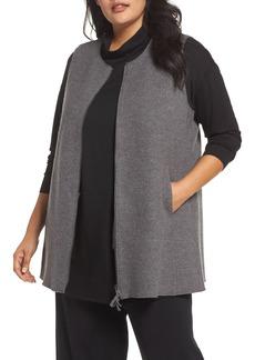 Eileen Fisher Zip Wool Vest (Plus Size)