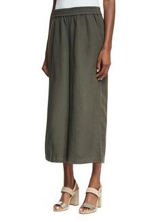 Elastic-Waist Wide Cropped Pants