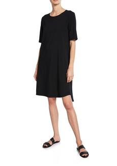Eileen Fisher Elbow-Sleeve Shirttail-Hem Jersey Dress