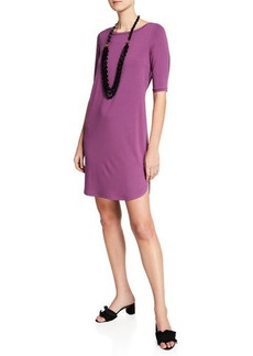 Eileen Fisher Elbow-Sleeve Shirttail-Hem Jersey Dress