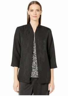 Eileen Fisher Erased Diamond Jacquard 3/4 Sleeve Long Jacket