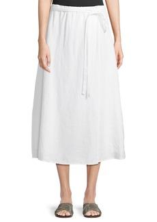 Eileen Fisher Faux-Wrap Linen Midi Skirt