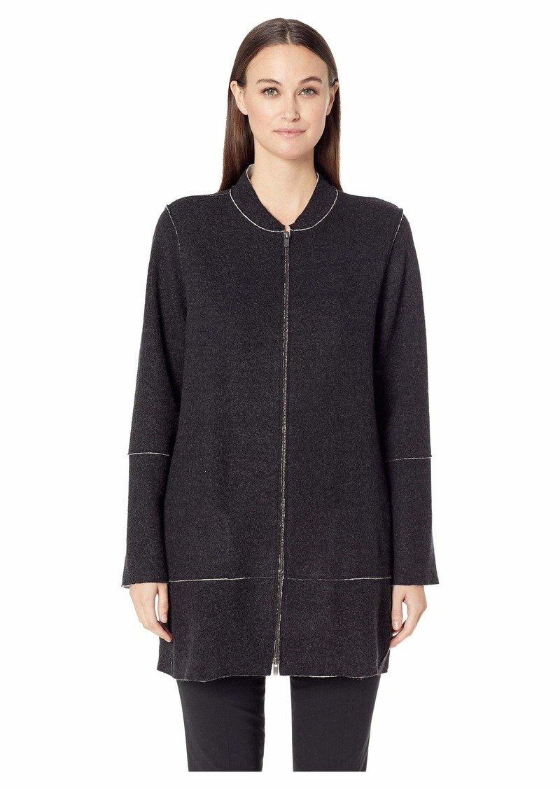 Eileen Fisher Felted Merino Double Knit Stand Up Collar Jacket