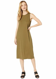 Eileen Fisher Fine Tencel Jersey Crew Neck Tank Slim Dress