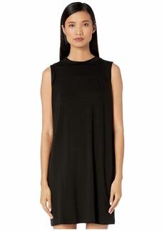 Eileen Fisher Fine Tencel Jersey Mock Neck Slim Knee Length Dress