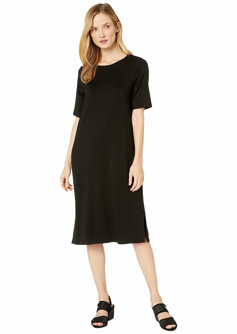 Eileen Fisher Fine Tencel Jersey Round Neck Short Sleeve Dress with Side Slits