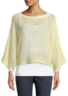 Eileen Fisher Fringed-Cuff Open-Stitch Linen Box Top