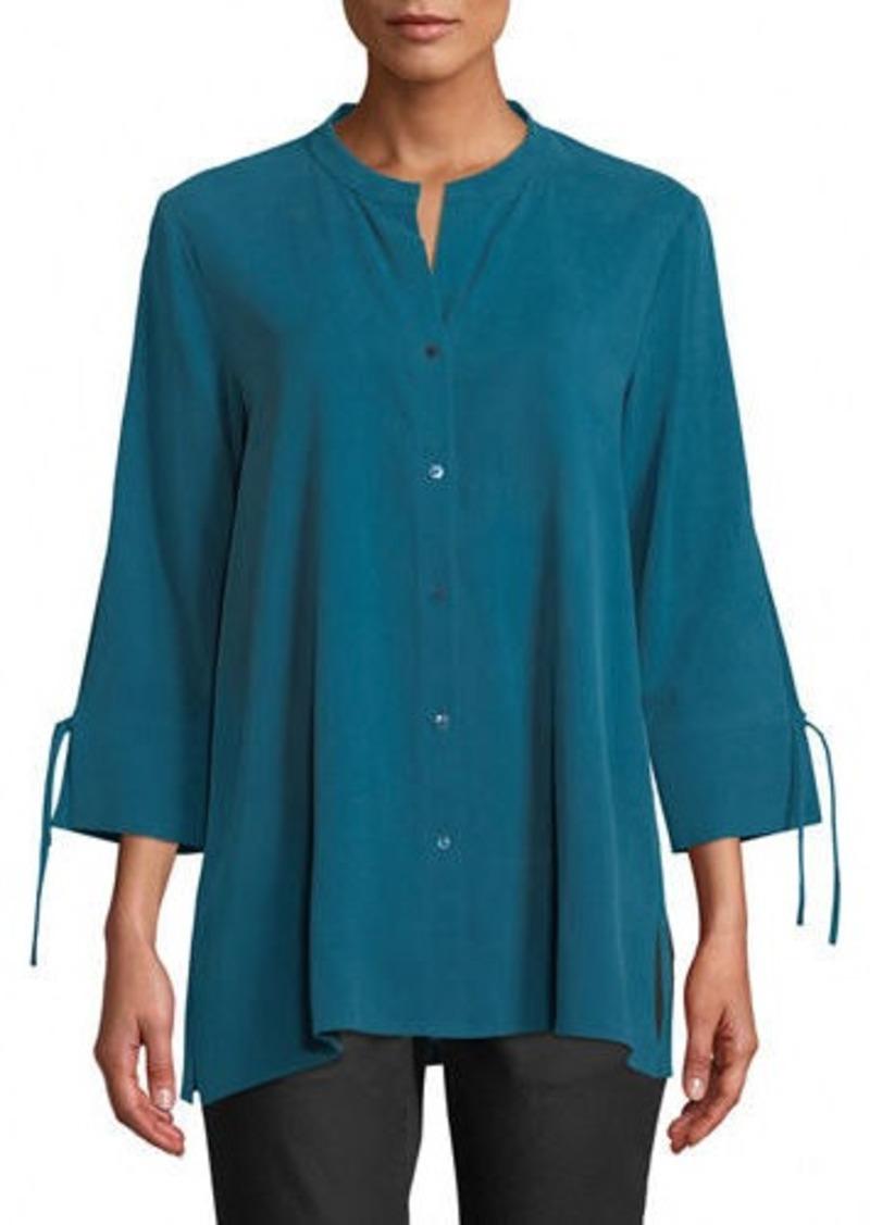 Eileen Fisher Fuji Silk 3/4-Sleeve Blouse