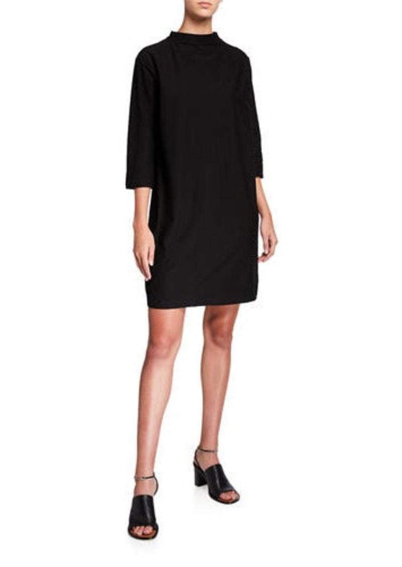Eileen Fisher Funnel-Neck 3/4-Sleeve Washable Crepe Dress