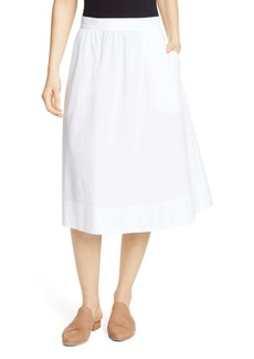Eileen Fisher Gathered Organic Stretch Cotton Midi Skirt