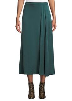 Eileen Fisher Godet-Pleat Silk Charmeuse Skirt