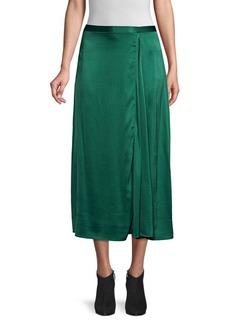 Eileen Fisher Godet Stretch Silk Midi Skirt