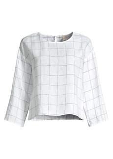 Eileen Fisher Grid Check Organic Linen Top