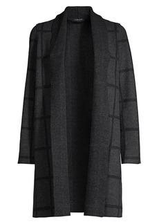 Eileen Fisher Grid-Print Shawl Collar Cardigan