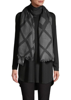 Eileen Fisher Grid Print Wool Scarf