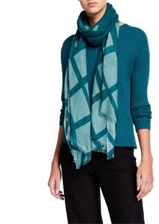 Eileen Fisher Grid Printed Wool Scarf
